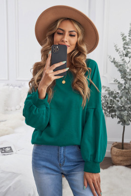 Sudadera con capucha y manga raglán patchwork verde