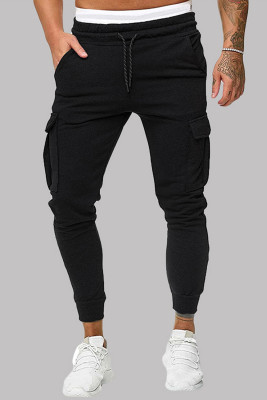 Pantalón de chándal ajustado con bolsillo lateral y cintura elástica con cordón en negro