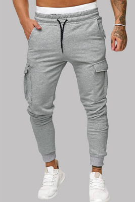 Pantalón de chándal gris con cordón y cintura elástica con bolsillos laterales entallados