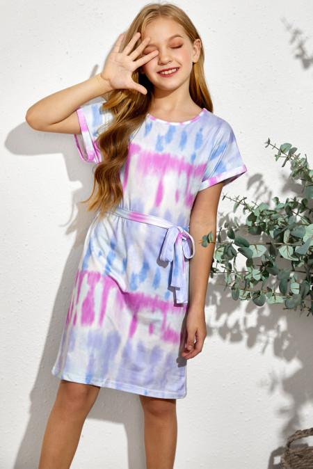 فستان تي شيرت متعدد الألوان للأطفال مناسب للأسرة