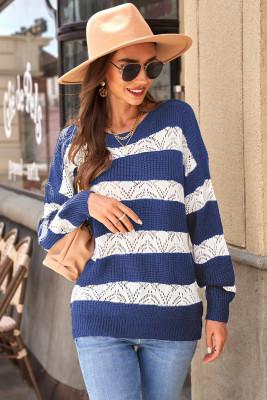 Suéter de punto con bloques de color a rayas azules