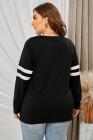 Top de manga larga con cuello en V negro con costuras y costuras de talla grande