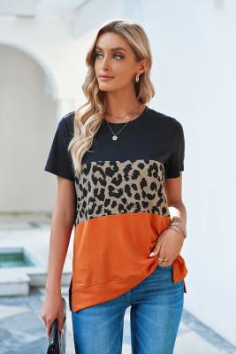 Синяя футболка с короткими рукавами в стиле колор-блок с леопардовым принтом