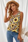 Camiseta sin mangas informal con espalda giratoria y girasol de leopardo