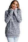 Hoddie gris con bolsillo con cremallera y estampado de leopardo