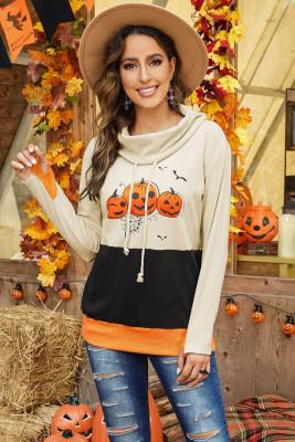 Sudadera de Halloween con cuello vuelto y estampado de calabaza en bloques de color naranja