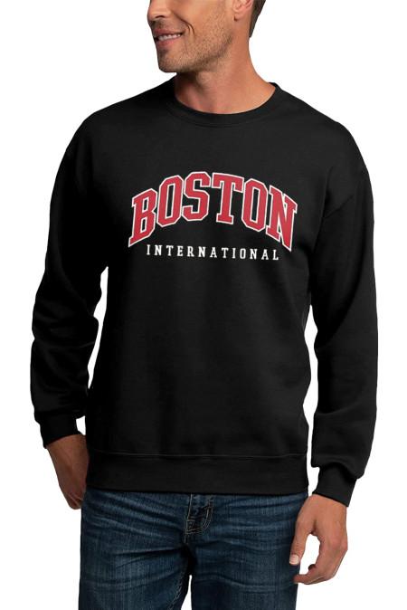 Sudadera negra con cuello redondo y estampado de letras BOSTON para hombre