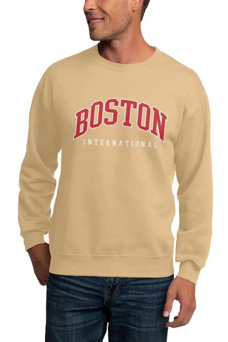 Sudadera con capucha para hombre con cuello redondo y estampado de letras BOSTON de color caqui