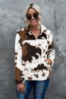 Флисовая толстовка с коровьим принтом и воротником на молнии
