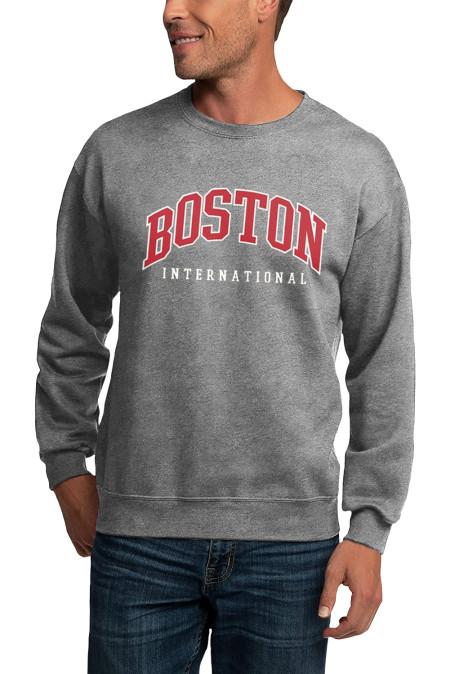 Серый мужской свитшот с круглым вырезом и принтом букв BOSTON