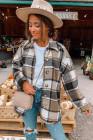 Жакет-рубашка на пуговицах с клетчатым принтом