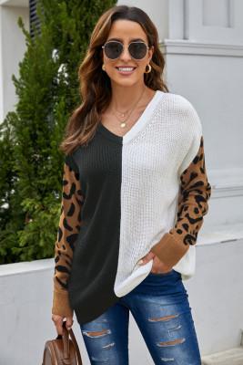 Suéter con cuello en V de color en contraste con estampado de leopardo