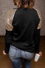 Top noir à manches longues et épaules paillettes