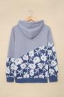 Sudadera gris con cuello vuelto y estampado floral