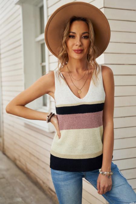 Chaleco suéter de punto con bloques de color caqui