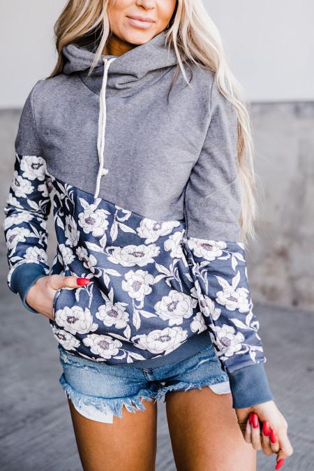 Серый худи с капюшоном и воротником-хомутом с цветочным принтом
