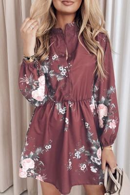 Minivestido con botones en la cintura elástica y estampado floral rojo vino