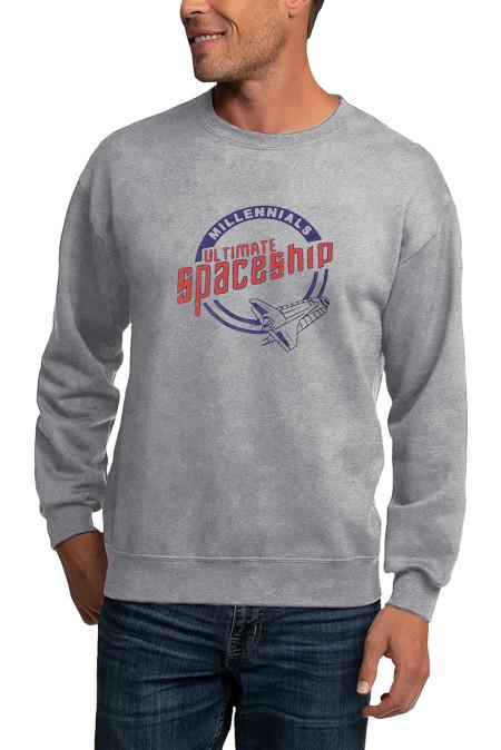 Серая мужская толстовка-пуловер с рисунком космического корабля с круглым вырезом