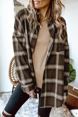 Camisa casual de tartán con hombros caídos marrón