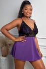 Camisa púrpura de encaje transparente de talla grande