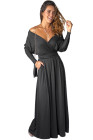 Черное платье макси с V-образным вырезом и рукавами «крыло летучей мыши»