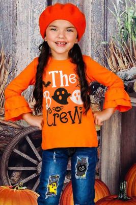 بلوزة بناتي بأكمام طويلة مكشكشة من The Boo Crew