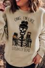 Sudadera con capucha y cuello redondo con estampado de letras de esqueleto de Halloween