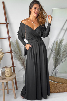 أسود - فستان ماكسي بياقة على شكل V