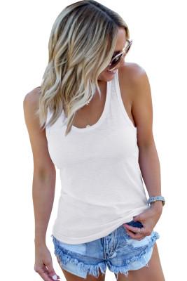 Camiseta sin mangas sólida básica blanca con cuello redondo