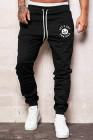 Черные мужские брюки с эластичной талией и надписью на Хэллоуин с принтом тыквы