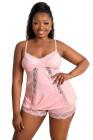 Conjunto de lencería rosa con encaje empalmado camisola y pantalones cortos talla grande