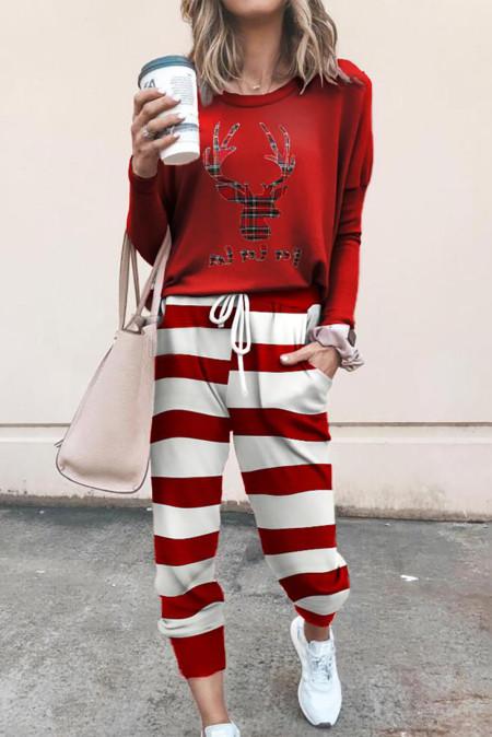 Top con estampado de renos navideños y pantalones con estampado de cuadros Ropa de salón