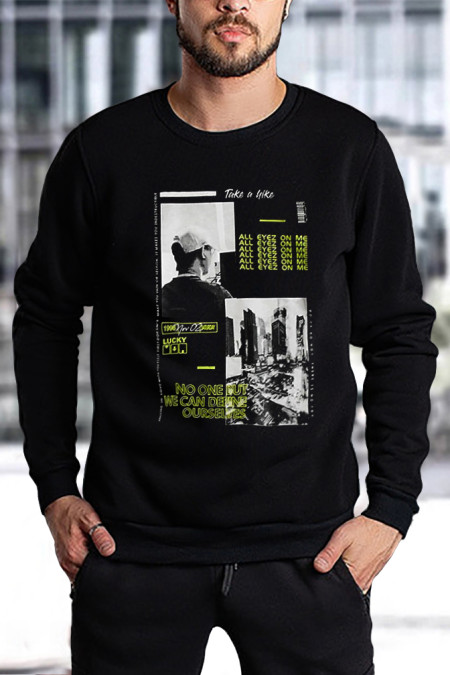 Sweat-shirt graphique noir à motif de lettres à imprimé ras du cou pour hommes