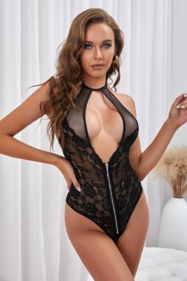 Body noir dos nu en dentelle résille avec buste évidé et dos nu