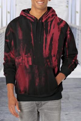 Sudadera con capucha roja con bolsillo de canguro y estampado teñido anudado para hombre