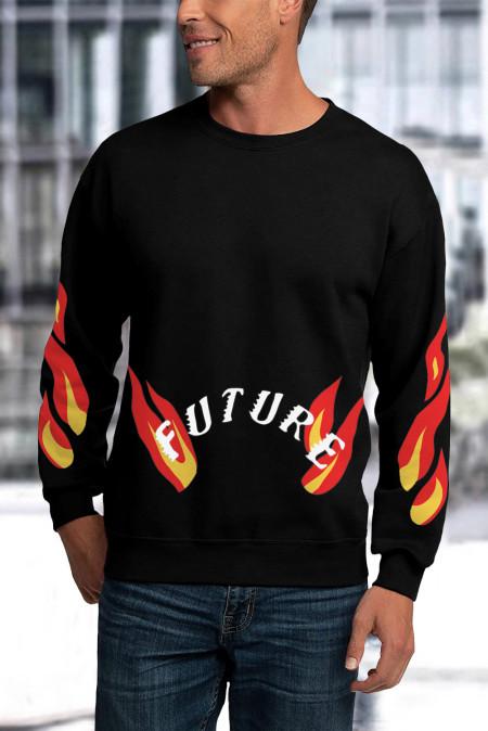 Sweat-shirt graphique noir à imprimé flamme et lettres à col ras du cou pour hommes
