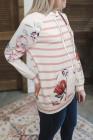 Sudadera con capucha y estampado de rayas florales con bolsillo canguro