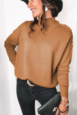 Suéter de manga larga con hombros descubiertos y cuello alto caqui