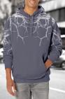 Sudadera con capucha gris Lightning para hombre con bolsillo canguro
