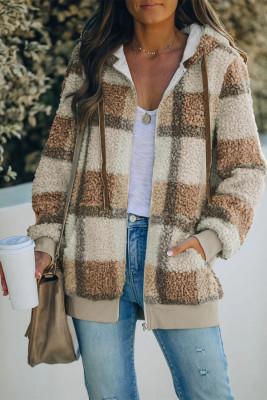 Abrigo con capucha de forro polar con cremallera y estampado a cuadros marrón