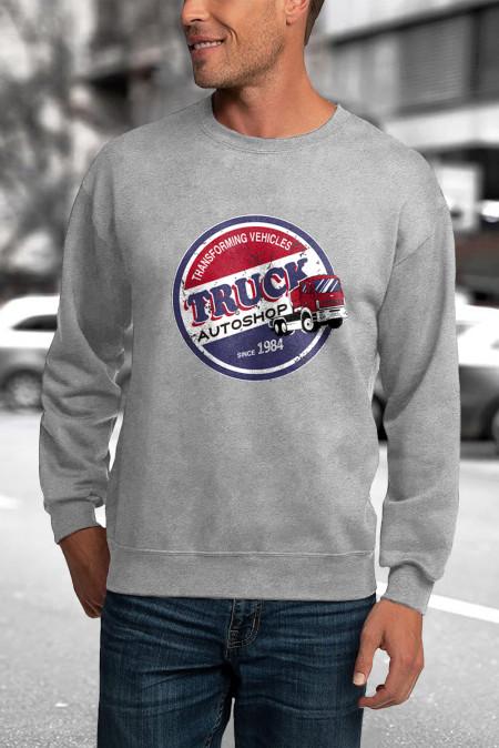 Серая мужская толстовка-пуловер с буквенным принтом и круглым вырезом