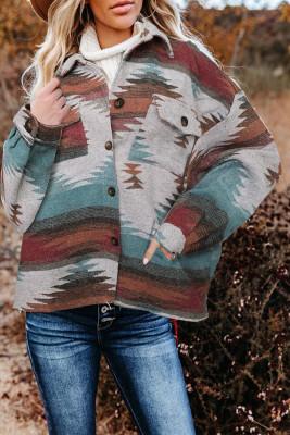 Chaqueta estilo camisa de manga larga con botones y solapa con estampado azteca desgastado
