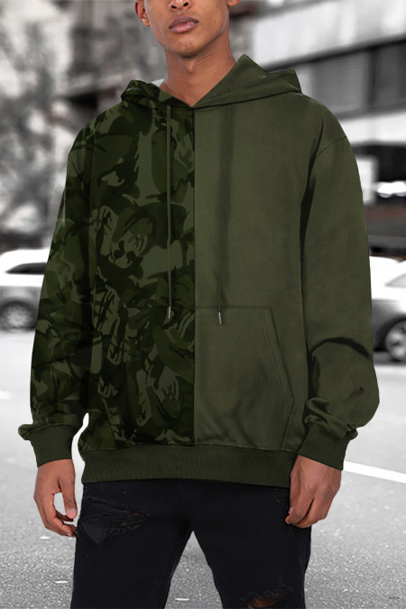 هودي باللون الأخضر المموه للرجال مع جيب الكنغر