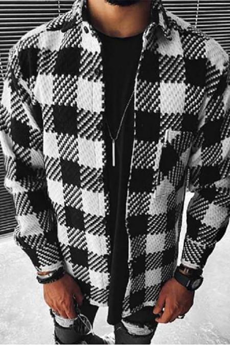 Veste à carreaux homme noire à manches longues et poche boutonnée