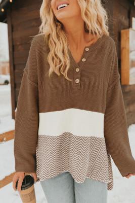 Коричневый вязаный свитер с длинным рукавом на пуговицах