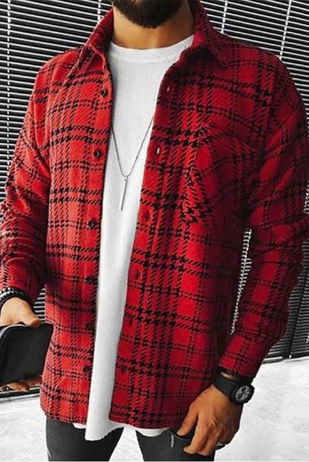 Красная мужская куртка-рубашка с фактурным отворотом и длинным рукавом в клетку