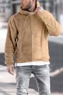 Sudadera con capucha de polar marrón con bloques de color para hombre