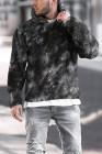 Черная мужская толстовка с капюшоном из шерпы с принтом Tie-dyed