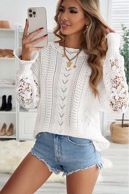 Suéter de punto de encaje de crochet blanco en punta