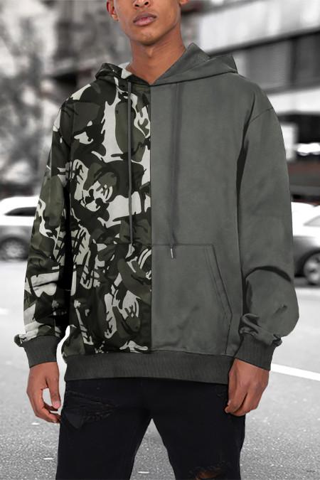 Sweat à capuche gris Camo Colorblock pour homme avec poche kangourou